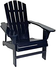 Sunnydaze Coastal Bliss Outdoor Painted Adirondack Chair - Natural Fir Wood Construction - Patio, Deck, Fire Pit, Garden, Porch and Lawn Seating - Navy Blue