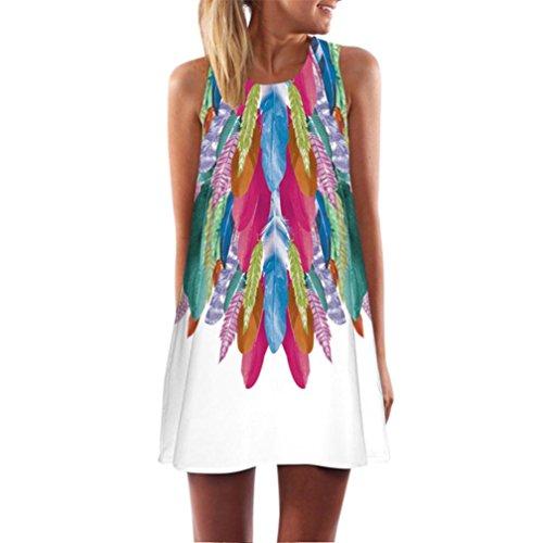 TUDUZ Damen Sommer Vintage 3D Blumendruck Boho Ärmelloses Sommerstrand Kurzes Minikleid Blumenkleid T-Shirt Tops Kleider-Faschingskostüme (Weiß, M)