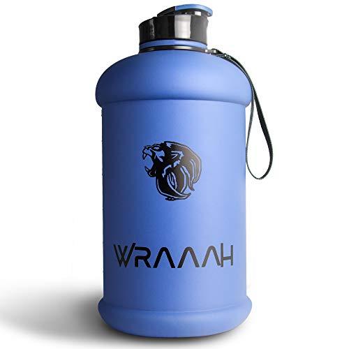 WRAAAH Trinkflasche Sport 2L - Extra Robuste 2 Liter XXL Fitness Flasche für Gym & Training - BPA Frei & 100% Auslaufsicher - Premium Water Bottle - Wasserflasche Groß - Blau Matt