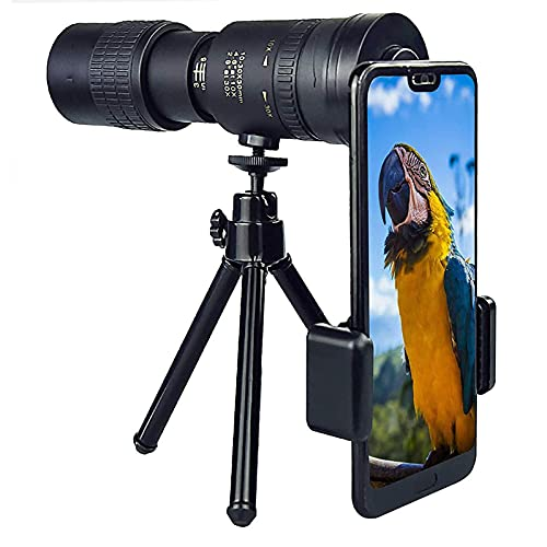 SETSCZY Telescopio monoculare, 10-300 x 40 mm ad Alta Potenza HD con treppiede, teleobiettivo, per Telefono Cellulare, per iPhone, Samsung e Altri Smartphone, Ottimo per Caccia, Campeggio, Sport