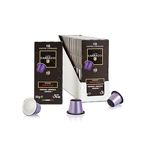 Caffè Carracci, Capsule Compatibili Nespresso, Napoli, 10 Astucci da 10 Capsule (Totale 100 Capsule)