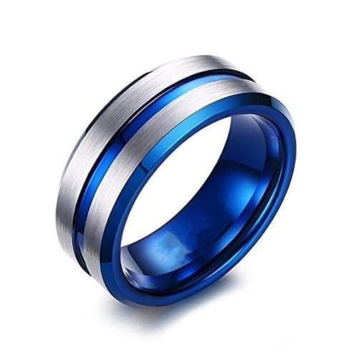ZIYUYANG8mm Anillo de acero inoxidable lateral de escalera cepillado Exquisito Dorado Azul Surco 9 Azul
