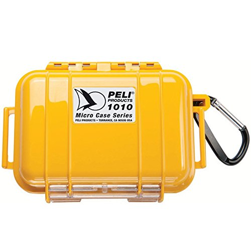 PELI 1010 Estuche estanco para guardar el Smartphone y objetos pequeños, IP67 estanco e impermeable al polvo, 0,3L de capacidad, fabricado en EE.UU., color amarillo/color negro