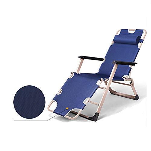 Tumbona Sillón Reclinable Lounge Almohadil,Tumbona Terraza Plegable Portátil Cama Plegable Ligera para El Hogar Adecuada para Jardín Patio Aire Libre Jardín Balcón Oficina Relajación Silcamping Azul