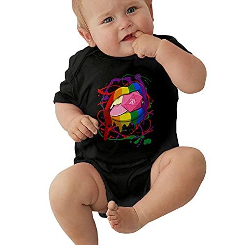 Inaayayi Mono de bebé rosa D20 Dice Labios Lollipop Personalidad Poster Baby Body Body Bebé Niños y Niñas Bebé Manga Corta Body