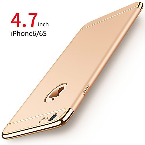 Cover iPhone 6/6s, PRO-ELEC Custodia iPhone 6/6s con [Vetro Temperato Protezione Schermo] Ultra Sottile Anti-graffio Resistente Custodia Cover per iPhone 6/6s (4.7 pollici) - Oro