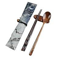 ヴィンテージ木の箸スプーン食器2個セットの新しいギフト食器ポータブル用品廃棄物竹カトラリー (Color : 褐色, Size : フリー)