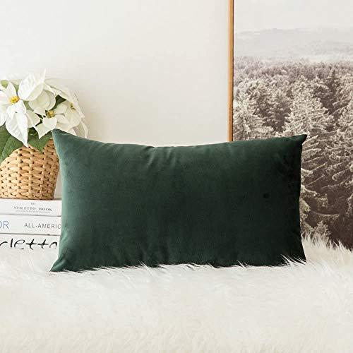 MIULEE Terciopelo Funda de Cojine Funda de Almohada del Sofá Throw Cojín Decoración Almohada Caso de la Cubierta Decorativo para Sala de Estar 30x 50cm 12 x 20 Pulgadas 1 Pieza Verde Oscuro