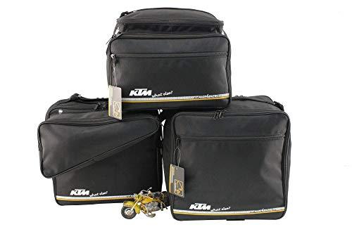 made4bikers Promotion-Bag: Ein Satz (Koffer und TopCase) bedruckter Innentaschen passend für KTM 1050, 1190 und 1290 ADVENTURE, Material Textil, schwarz