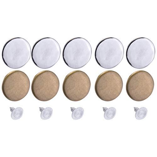 SUPVOX 40 Set de Botones de Jeans Hebilla de Metal de Hierro Tirantes Botones de Tachuela Kit de reemplazo con Cajas para Shop Mall Home -17mm (Estilo 3 + 4)