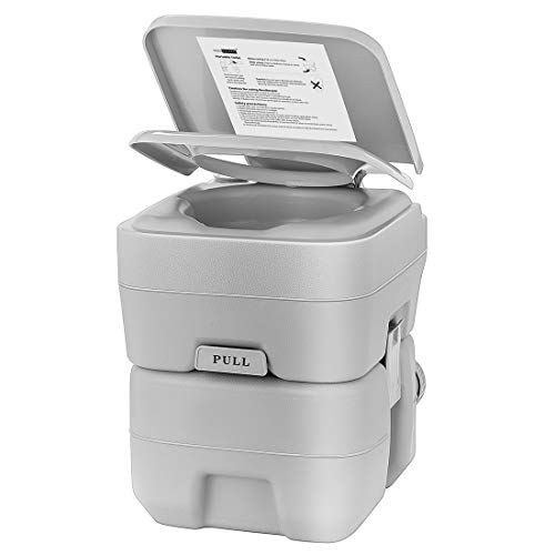 VIVOHOME 5.3 Gallon Waste Tank Portable Indoor Outdoor Toilet Compact Double-Outlet Commode with Anti-Leak Seal Ring and Cleaning Brush for Travel Camping RV Boating Fishing