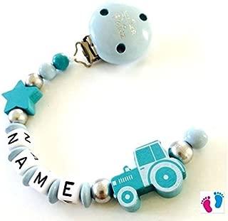 SET Schnullerkette Greifling mit Wunschname Baby Geschenkidee Traktor Stern