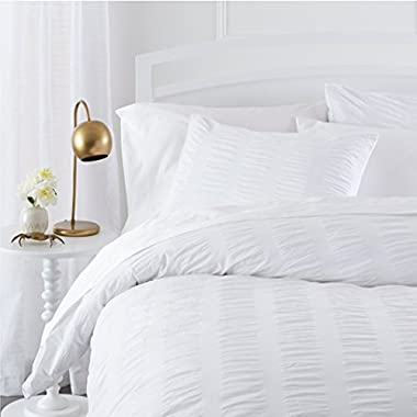 Pinzon Seersucker Duvet Cover Set - King, White