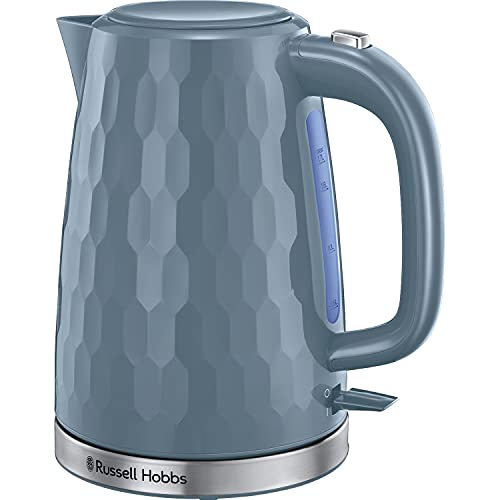 Russell Hobbs 26053 Cordless Electric Kettle - Contemporary Honeycomb Design with Fast Boil and Boil Dry Protection, 1.7 Litre, 3000 W, Grey
