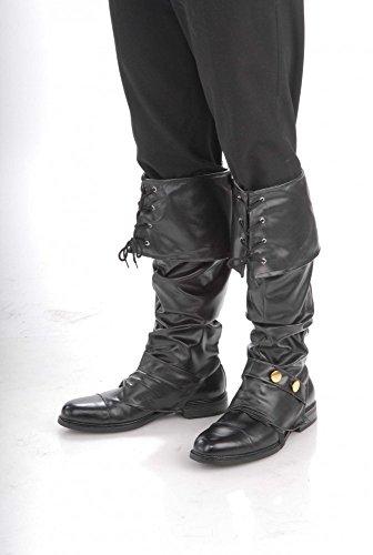 shoperama Herren Stiefelstulpen Leder-Optik für Piraten Steampunk Krieger Boot Cover, Farbe:Schwarz
