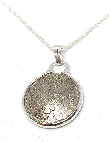Domed Cinch Pendant 1960 Lucky sixpence 60th birthday gifts for women Sterling Silver 18in Chain