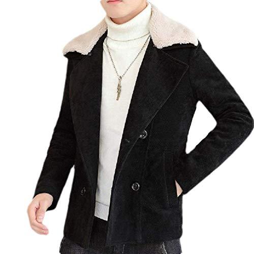 Men Vintage Faux Suede Double Breasted Lapel Faux Fur Collar Long Sleeve Coat
