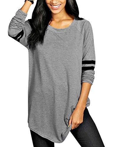VONDA Maglie Donna Maniche Righe Lunghe Elegante Girocollo Invernale Tops Sottile Casuale Tinta Unita Magliette Pullover Autunno T-Shirt Bluse Primavera Felpe 1D-Grigio XL