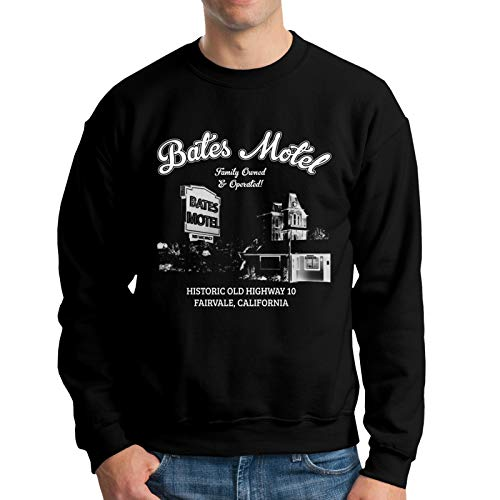 Psycho Bates Motel Family Owned and Operated Men Fashion Long Sleeve Sweatshirt Loose Soft Pullover Basic Tee Top Black Large