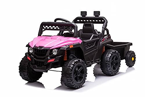 RSX SMALL con rimorchio, Rosa, Trazione posteriore, Batteria 12V, Sedile in plastica, Telecomando 2,4 GHz, Lettore MP3 con ingresso USB/Aux, Luci LED