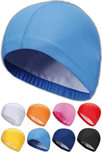 SQUATCH® | Bonnet de Bain Piscine Natation | Mixte Adulte Homme-Femme | Tissu PU Souple et Confortable | Facile à Enfiler | 8 Couleurs (Bleu)