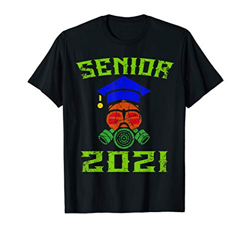 Vintage Distress Senior Class of 2021 Face Mask Quarantined T-Shirt