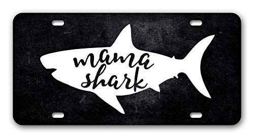 N/O Mama Shark License Plate Black Personalized Car Tag Decor Auto Tag Novelty Front License Plate Cover for Mom Gift - Mirrored Acrylic,High Gloss Aluminum Plate with 4 Holes 12 x 6 Inches