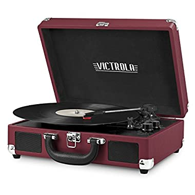 Innovative Technology VSC-550BT-ML Victrola Vintage 3-Speed Bluetooth Suitcase Turntable with Speakers, Marsala