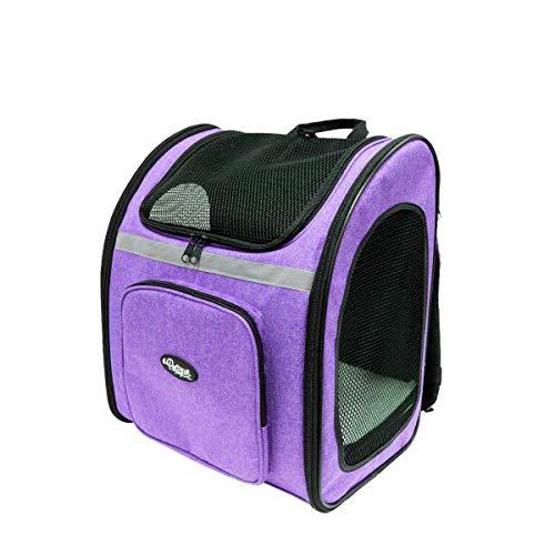 Petique The Backpacker ペティーク バックパッカー [ 猫 犬 キャリー リュック/米ブランド / メッシュ窓3つ / ペット用底敷きマット付き/小型犬 中型犬 対応/ペットキャリー ] 飛び出し防止付き 両開き式 (orchid)