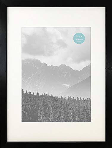 pf+a - GLASS Window - Oxford Black Premium Thin Photo Picture Frame Portrait & Landscape / A3 For A4