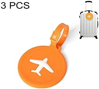 シンプルライフ、ライフアシスタント 3 PCSラウンドPVC荷物タグ旅行バッグ識別タグ(オレンジ)、荷物タグ (色 : オレンジ)
