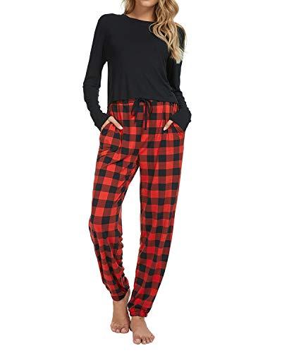 Schlafanzug Damen Pyjama Sets Weiche Damen Loungewear Baumwolle Pjs Set Yoga Jogging Style Trainingsanzug Nachtwäsche Top & Bottoms Nachtwäsche