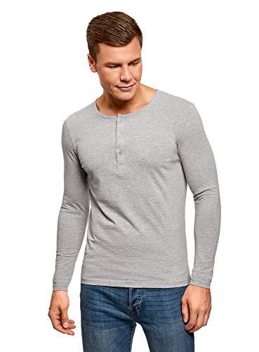 oodji Ultra Uomo T-Shirt Henley con Maniche Lunghe, Grigio, IT 42 / EU 44 / XS
