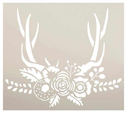 "Antlers with Flowers & Leaves Stencil by StudioR12 | DIY Boho Chic Wedding Decor | Craft Rustic Bohemian Floral Wall Art | Paint Wood Signs | Reusable Mylar Template | Select Size (9"" x 8"")"
