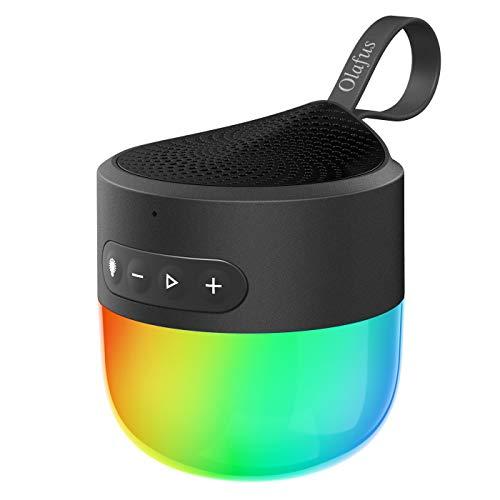 Olafus Bluetooth Lautsprecher mit Nachttischlampe, Stimmungslicht Speaker mit IP65, Dimmer, 5 Licht Modi, Mikrofon und Farbwechsel mit Musik, 12 Stunden Wiedergabezeit Romantische Geschenke