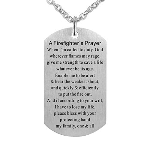 Firefighter Prayer Fire Rescue Brushed Steel Dog Tag Pendant Necklace Gift Jewelry