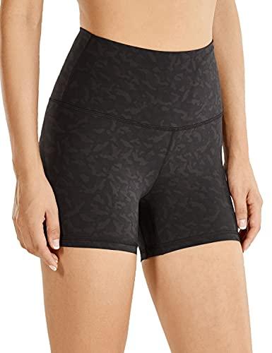 "CRZ YOGA Women's Naked Feeling Biker Shorts - 3"" / 4"" / 6"" High Waist Yoga Workout Running Shorts Olive Leopard Grain - 4'' Medium"
