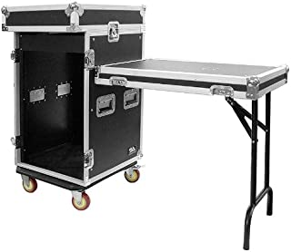 Seismic Audio - SAMRWT-16U - 16 Space Rack Case with 10 Space Slant Mixer Top and DJ Work Table - PA/DJ Pro Audio Road Case - 16U