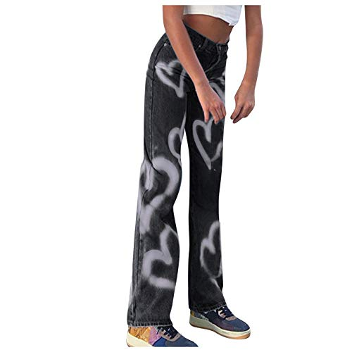 POTO Y2K Fashion Jeans for Women High Waist Wide Leg Denim Pants Tie Dye Straight Baggy Trousers Vintage Streetwear