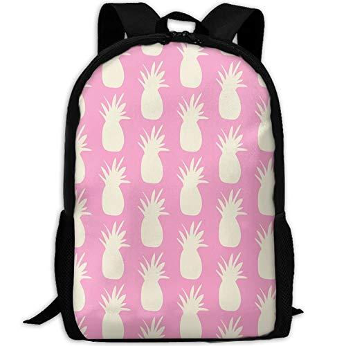 Ananas Creme auf rosa Leinwand Büchertaschen Schulrucksack Laptop Schultasche für Jugendliche Mädchen Jungen High School
