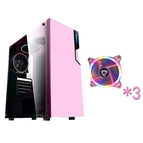 WSNBB Rosa Gaming Pc Gehäuse, Mid-Tower ATX/M-ATX/Mini-ITX PC-Spiel-Computer Fall, Gehärtetes Glas, USB 3.0, Mit Farblicht-Fan, for Desktop-PC Computer (Size : 3 Fan)