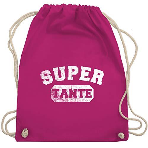 Shirtracer Schwester & Tante - Super Tante Vintage - Unisize - Fuchsia - super tante turnbeutel - WM110 - Turnbeutel und Stoffbeutel aus Baumwolle
