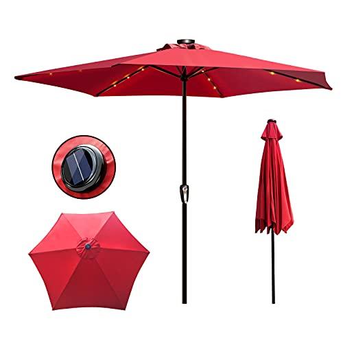 Masthome Sonnenschirm mit LED-Solar-Beleuchtung,Marktschirm mit Handkurbel für Terrasse,Loggia,Balkon,Camping-Platz,Pool,Indoor & Outdoor