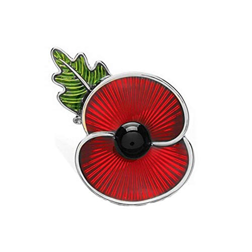 Wxyfl Red Drip Oil Poppy Pin Badge Lapel Brooch Pin Collection Enamel And Leaf Brooch for Remembrance Day,Silver 4