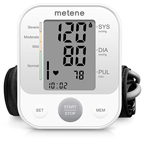 Blood Pressure Monitor Upper Arm,Metene Automatic Accurate Digital BP Machine for Home Use & Pulse Rate Monitoring Meter with Largest Display,Cuff 22-40 cm,2×120 Sets Memory,Talking Function