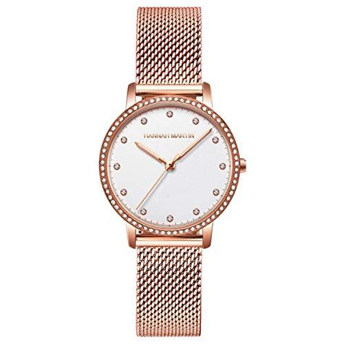 Mujer Relojes, L'ananas Moda Lux de Entrada Anillo de Diamantes de imitación Escalas de Tiempo de Cristal Cinturón de Malla Relojes de Pulsera Women Watches Wristwatches (Oro+Blanco)