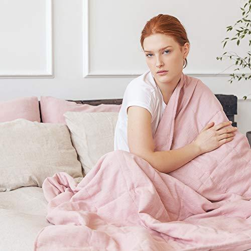 Manta pesada de lino de calidad para alivio de la ansiedad y estrés y ayuda al sueño (135 x 195 cm, 6,3 kg, rosa polvoriento)