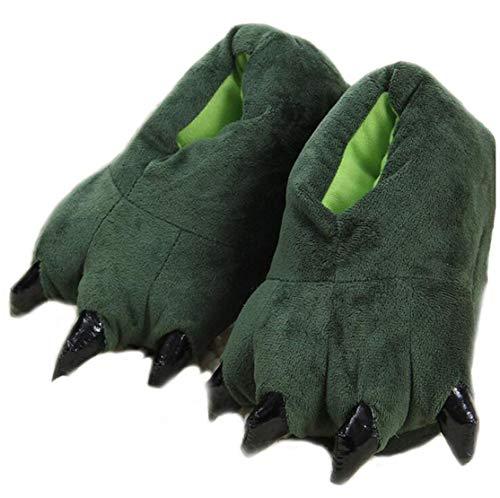 Pijama de Dinosaurio Unisex Lindo hogar Caliente Zapatillas de Felpa (Pequeña 28-34 UE, Verde)