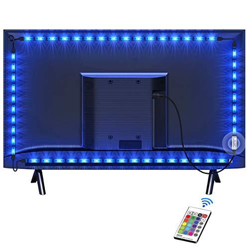 TV Hintergrundbeleuchtung OMERIL 2.2M USB Led Band Strip Wasserdicht RGB LED Streifen Fernseher Beleuchtung mit 24-Key Fernbedienung, für 40-60 Zoll HDTV, TV-Bildschirm,PC usw.