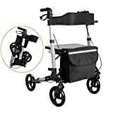 Hengda Folding Lightweight Compact rollator Walking Frame with seat and Carry Bay City Walker Height Adjustable